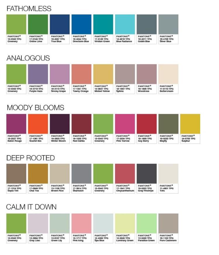 greenery zestawy kolorów