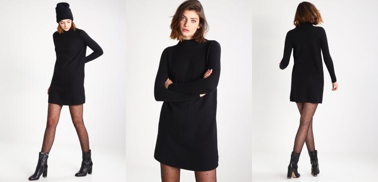 czarna sukienka dzianinowa