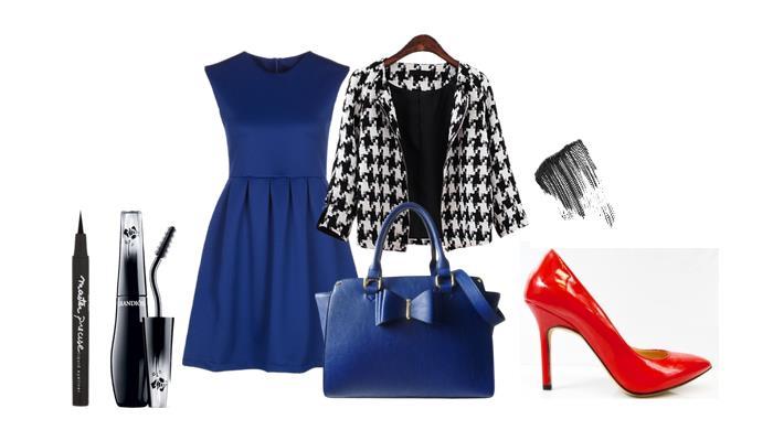 granatowa sukienka stylizacje