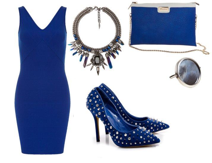 granatowa sukienka wieczorowa stylizacja