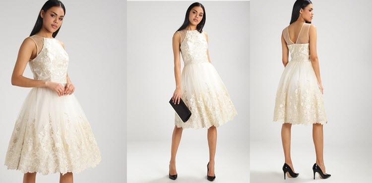 biała rozkloszowana sukienka na studniówkę