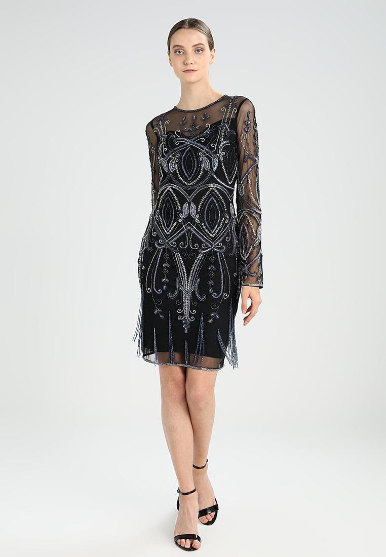 czarna prześwitująca sukienka koktajlowa