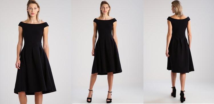 czarna sukienka na studniówkę z odsłoniętymi ramionami