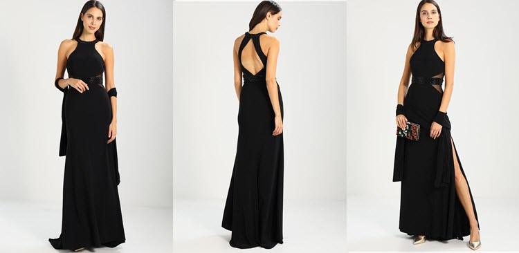 czarna suknia z odkrytymi ramionami na studniówkę