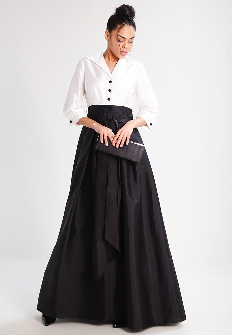 czarno biała długa suknia sylwestrowa