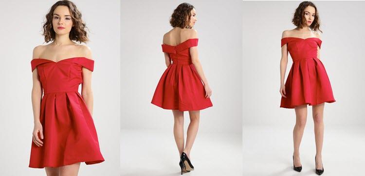 czerwona klasyczna sukienka sylwestrowa