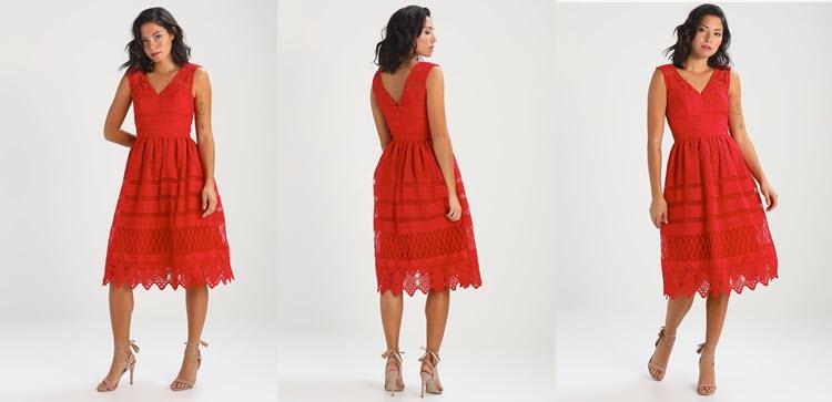 czerwona koronkowa sukienka na studniówkę