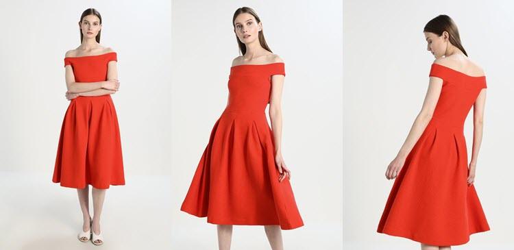 czerwona sukienka studniówkowa odkryte ramiona