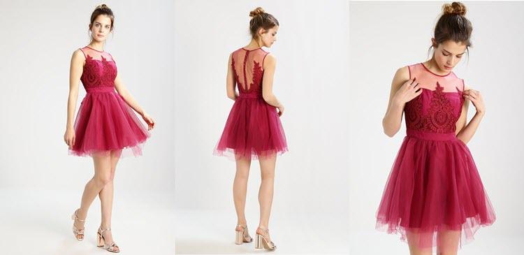 czerwona tiulowa sukienka koronkowa na sylwestra
