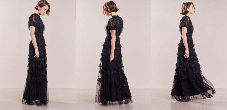 długa czarna sukienka na studniówkę