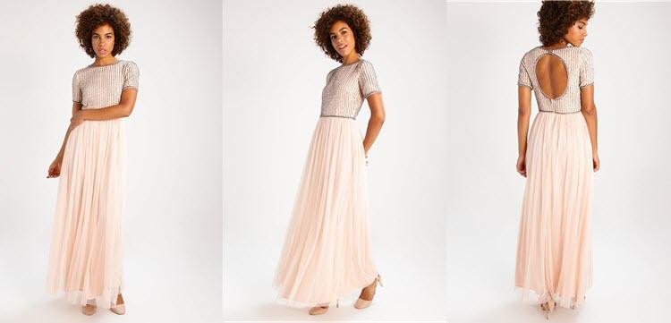 długa suknia na studniówkę w kolorze nude