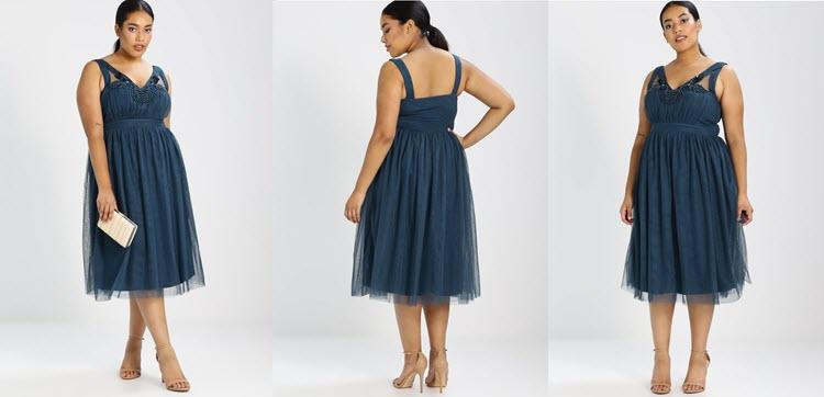 granatowa sukienka tiulowa dla puszystych