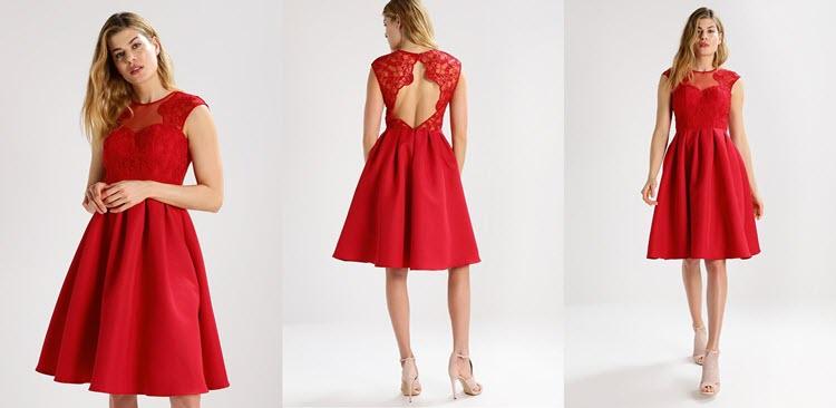 klasyczna czerwona sukienka sylwestrowa