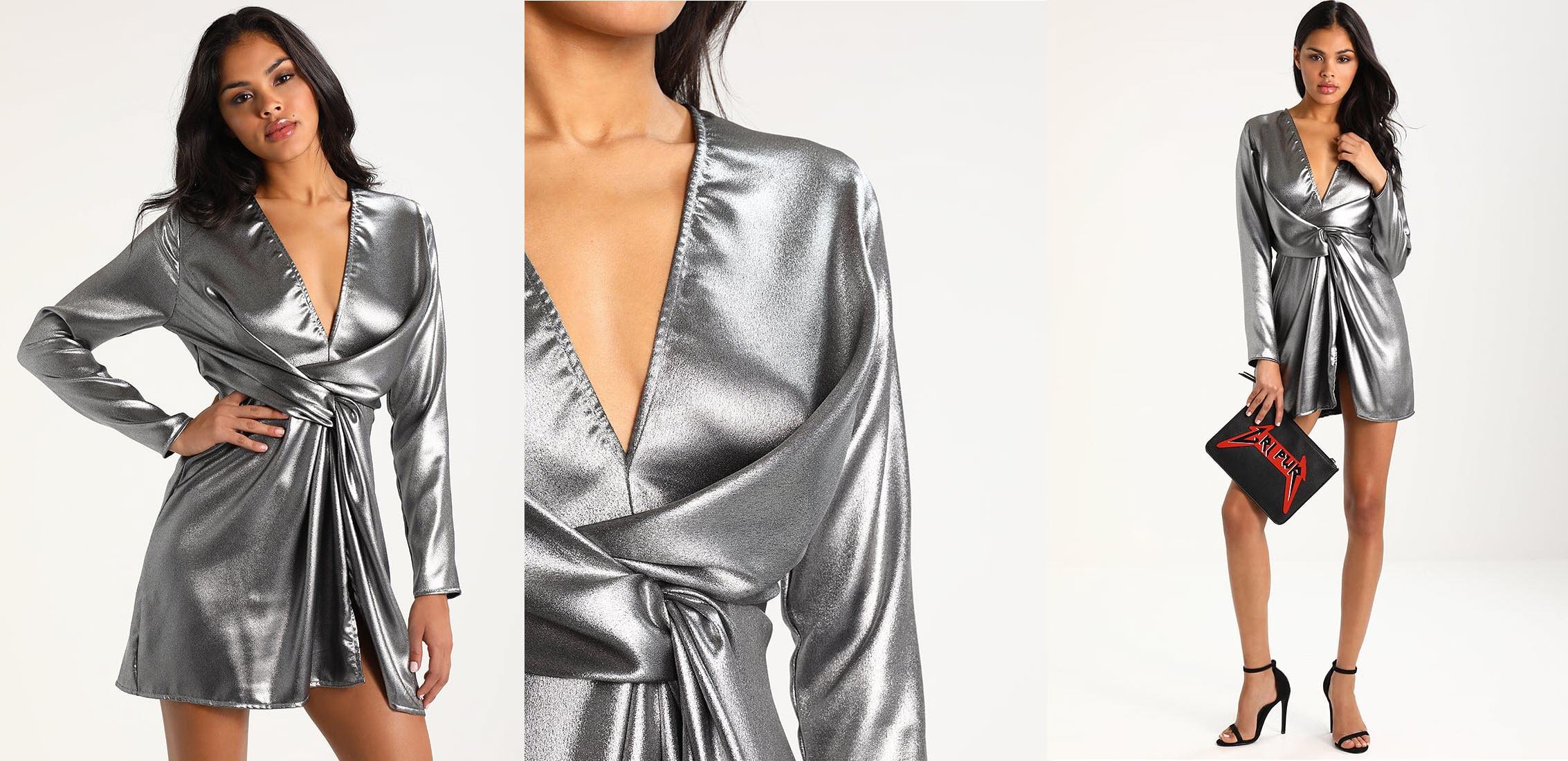 srebrna krótka sukienka sylwestrowa