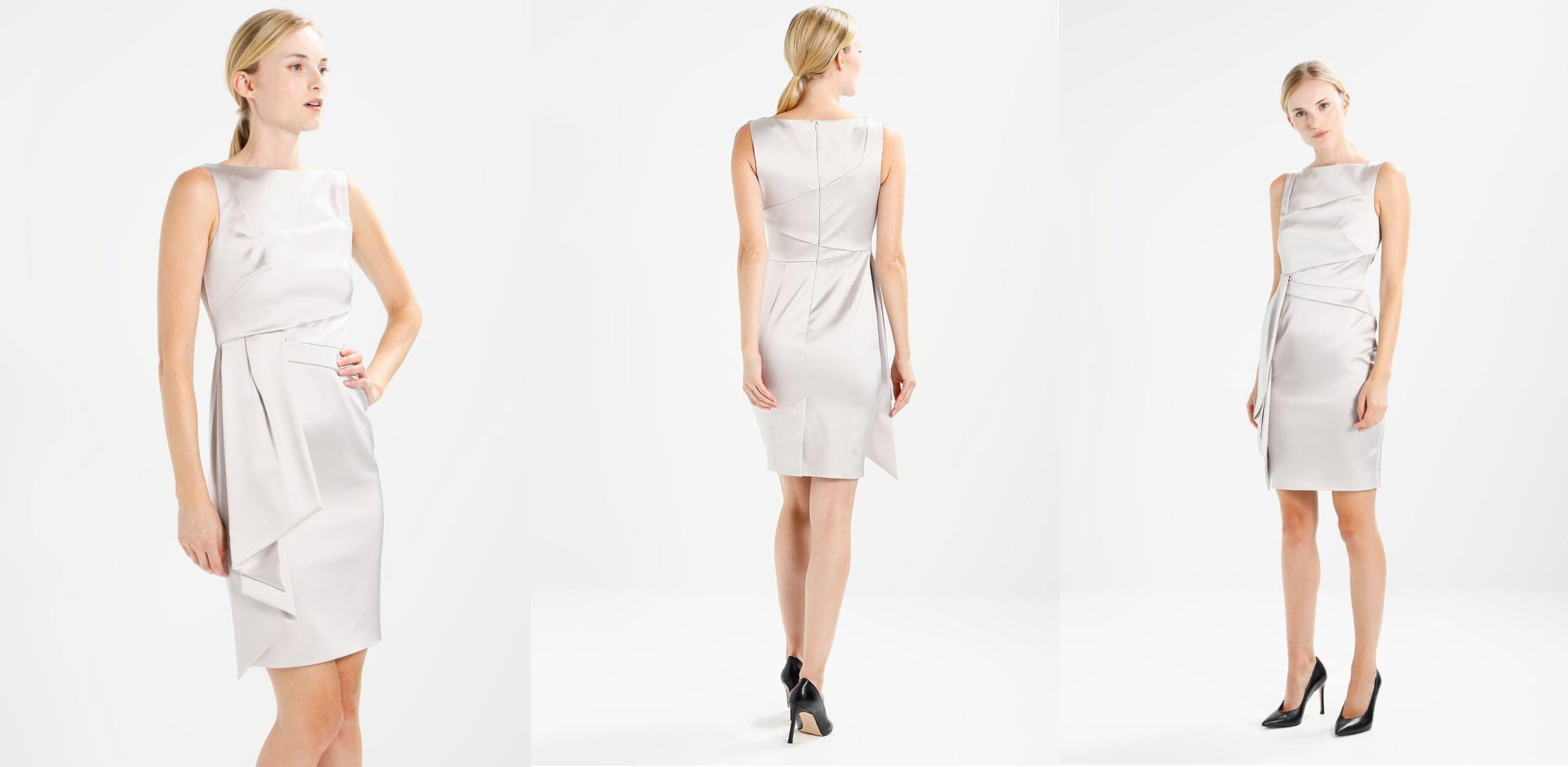 srebrna sukienka na sylwestra bez rękawów