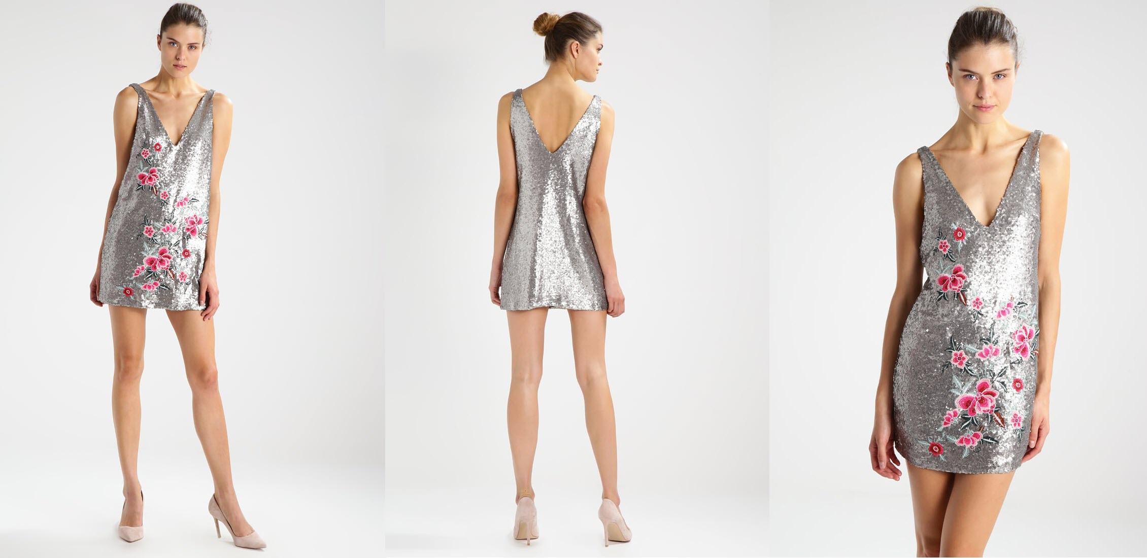 srebrna sukienka w kwiaty