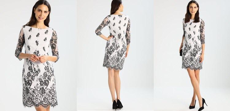 sukienka sylwestrowa z białymi dodatkami