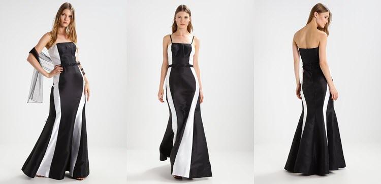 suknia sylwestrowa z białymi dodatkami