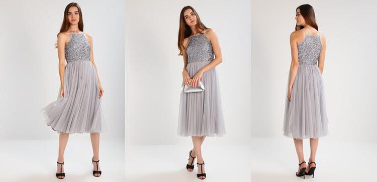 szara sukienka studniówkowa